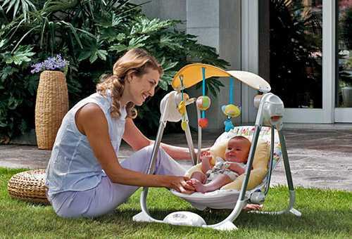 Шезлонг-качели для новорожденного