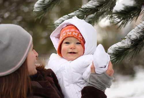 Зимняя прогулка с новорожденным