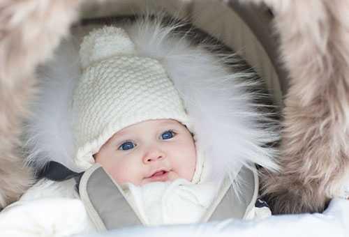 Новорожденная девочка в зимней оджде