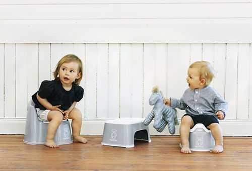 Мальчик и девочка на горшках